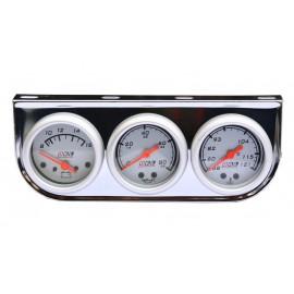 Trio Medidor 52mm Plata Ar43 (volt./aceite/agua)