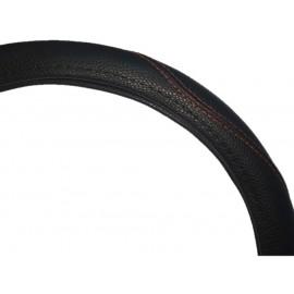 Cubrevolante Cuero Negro Cost.roja M-38cm (imp)